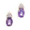 Amethyst Diamond Stud Earrings