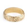 Swedish Vintage 18k Gold Wedding Band Etched Rose & Foliate Detail