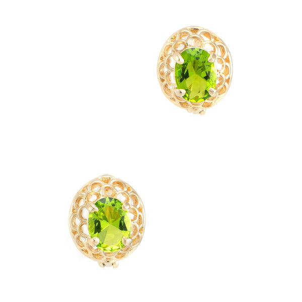 Peridot Stud Earrings Vintage 14k Yellow Gold