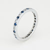 Diamond Sapphire Pinky Eternity Ring Sz 4.25 Estate 14k White Gold