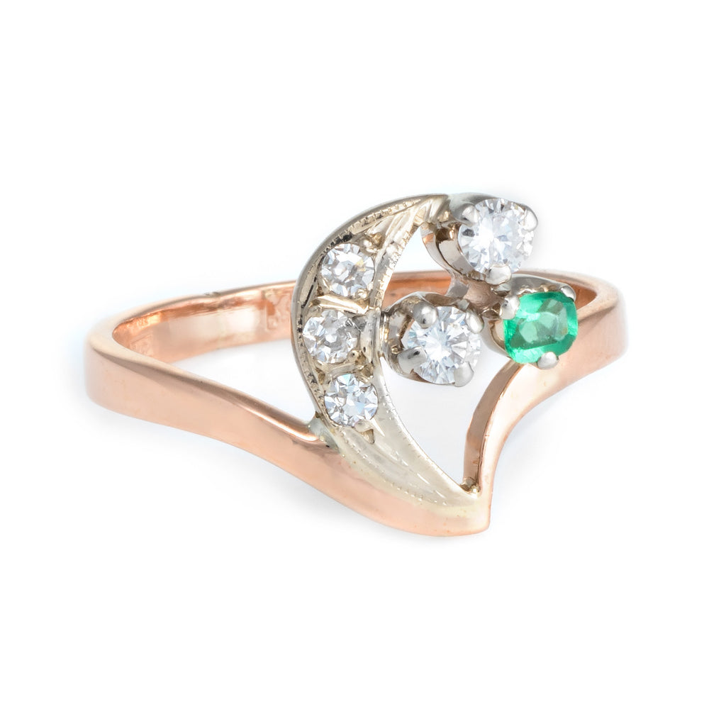 Crescent Moon Star Diamond Emerald Russian Ring 14k Rose Gold