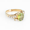 Peridot & Diamond Vintage 14k Yellow Gold Cocktail Ring