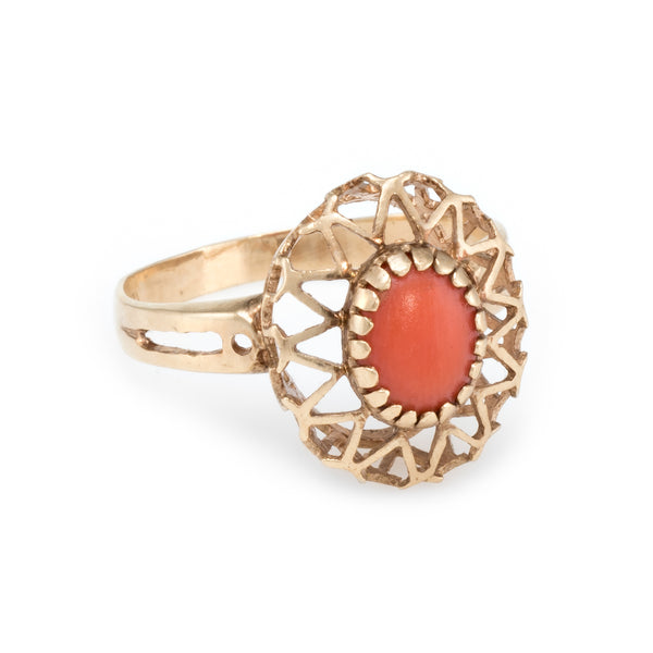 Coral Cocktail Ring Vintage 14k Yellow Gold