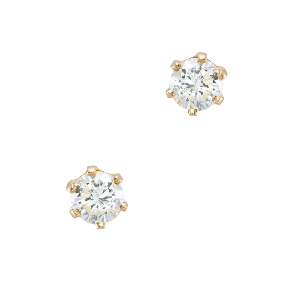 1.20ct Diamond Solitaire Stud Earrings Vintage 14k