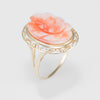 Vintage Carved Coral Rose Flower Cocktail Ring