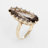 Smoky Quartz Cocktail Ring Vintage 14k Yellow Gold