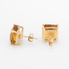 Citrine Square Stud Earrings Vintage 14k