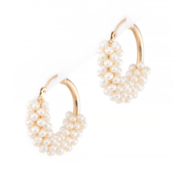 Freshwater Pearl Hoop Earrings Vintage 14k Gold