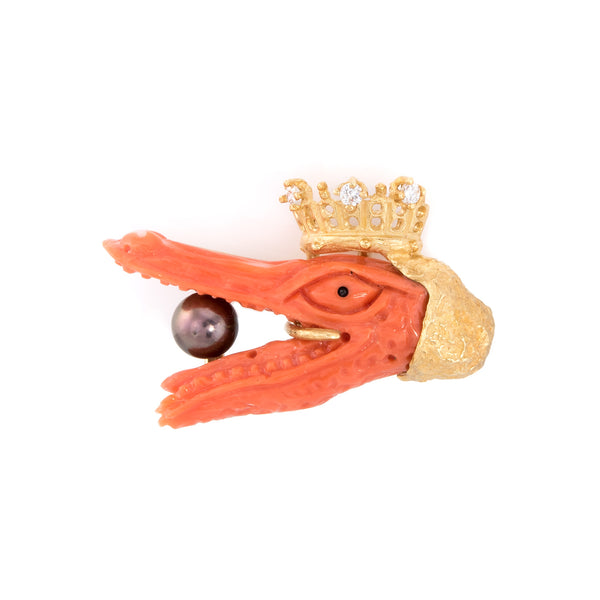 Crowned Alligator Tie Tac Pin Vintage Coral Diamond 18k Gold