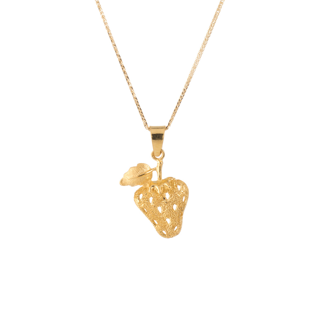 Strawberry Pendant & Necklace Estate 24k Yellow Gold