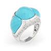 Turquoise Diamond Cocktail Ring Estate Jewelry