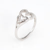 Vintage Double Heart Diamond Band Ring 14k White Gold