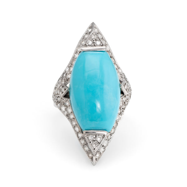 Estate Turquoise Diamond Cocktail Ring 18k White Gold Pointed Large Jewelry 7.75