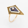 Antique Victorian Ring Conversion 14k Gold Pearl Enamel Vintage Fine Jewelry