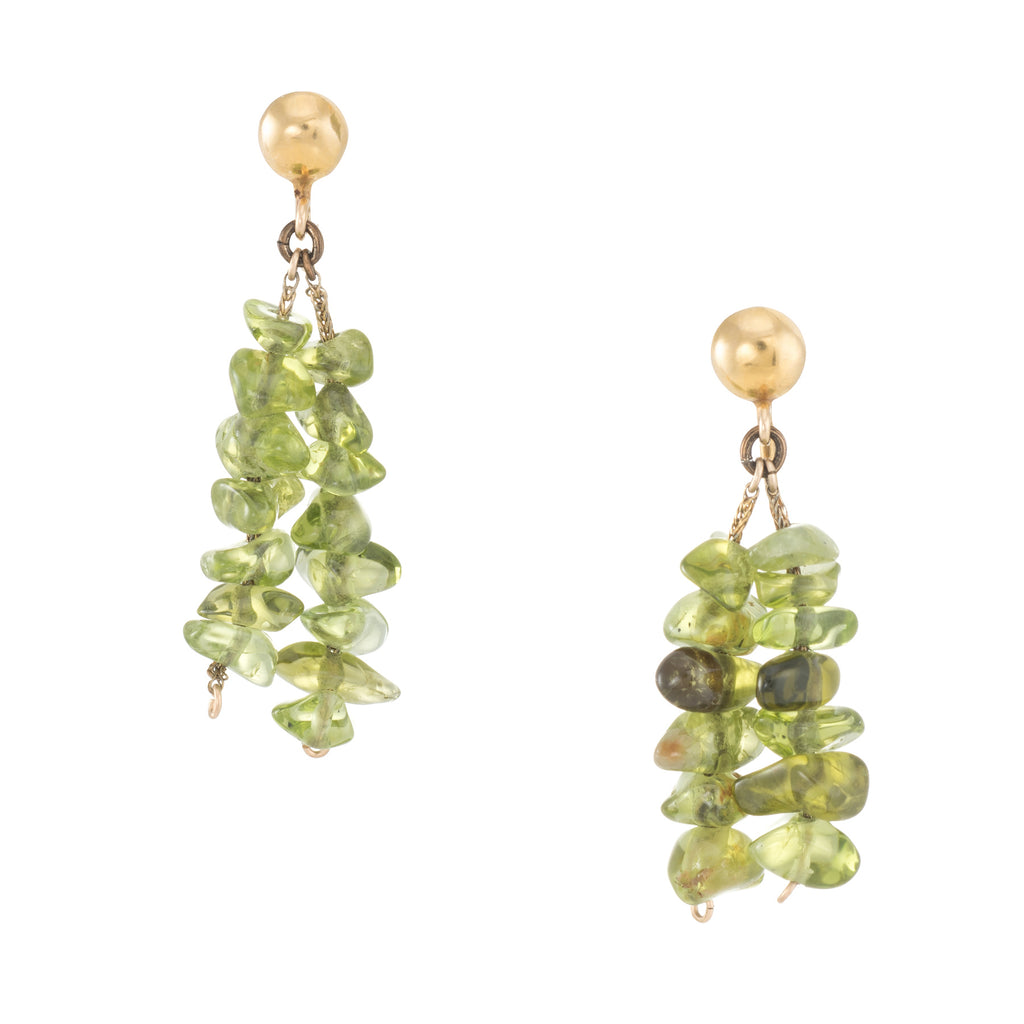 Peridot Drop Earrings Vintage 14k Yellow Gold Estate Fine Jewelry Pre Owned