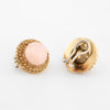 Angel Skin Coral Round Earrings Vintage 18k Yellow Gold
