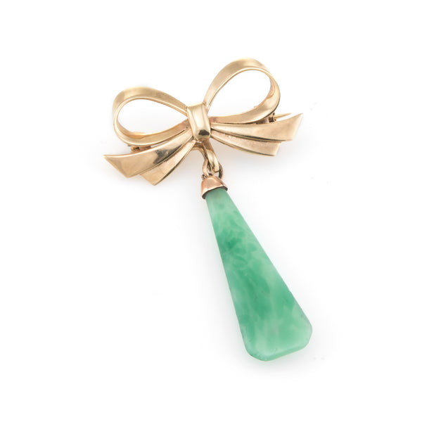 Vintage Jade Drop Brooch Pin Bow Design