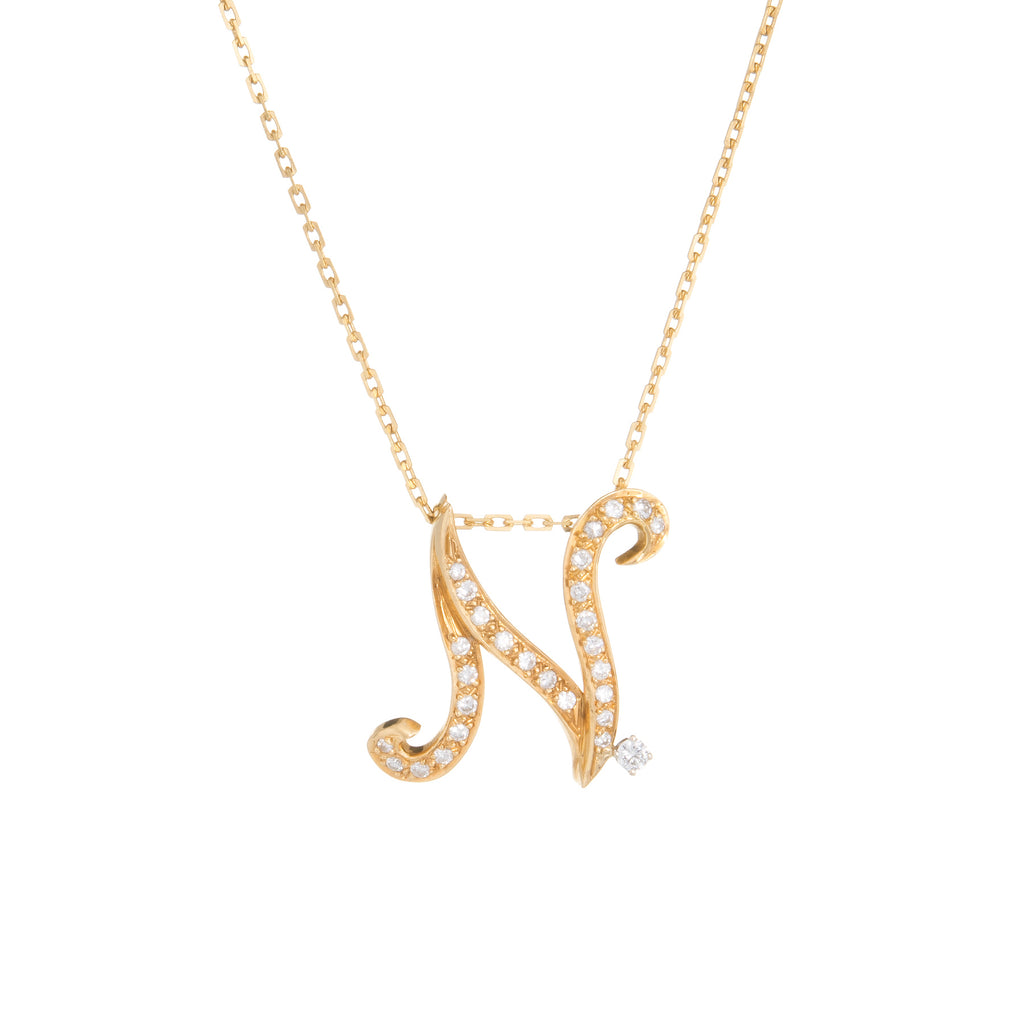 rose necklace initial font large the gold pendant classic misuzi products silver chloe