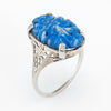 Antique Deco Filigree Cocktail Ring Sodalite Vintage 14k White Gold