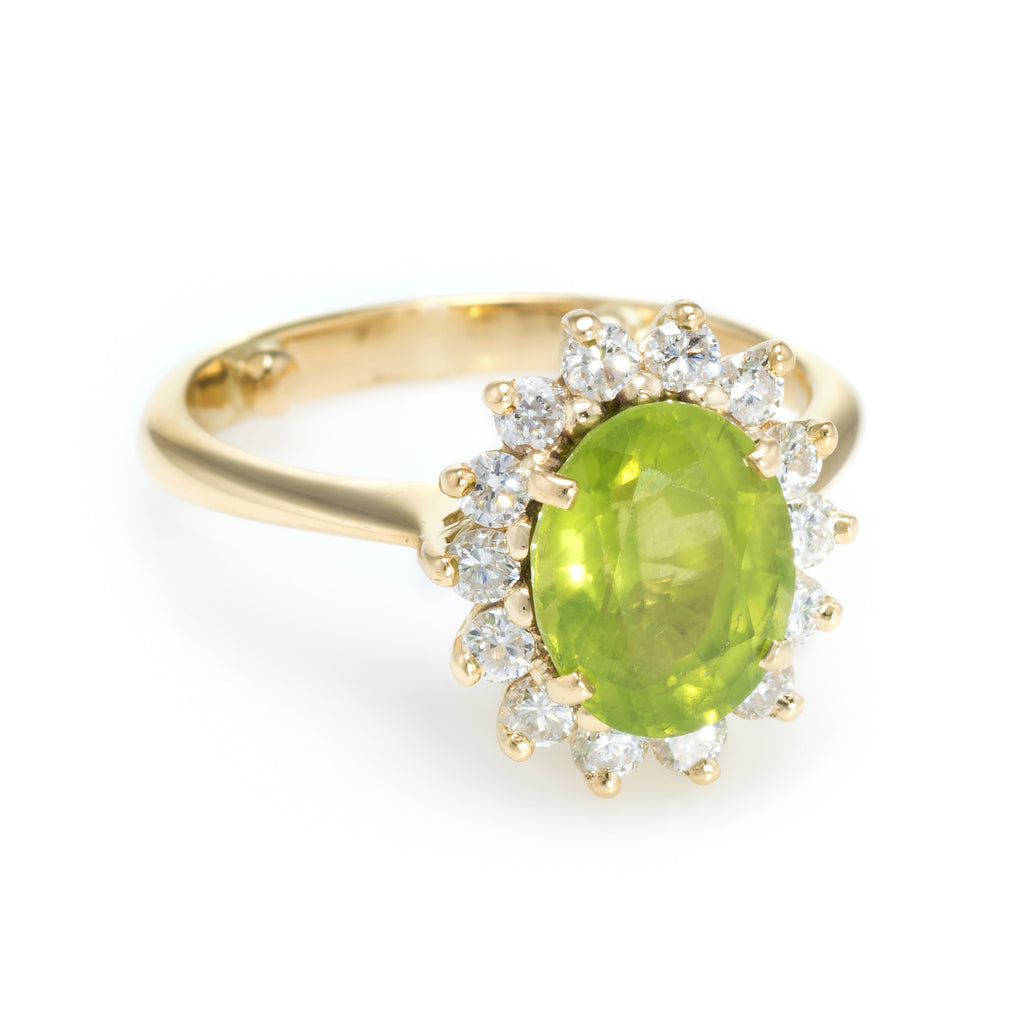 engagement peridot style halo wedding black certified ring green unique vintage gold rings carat pave
