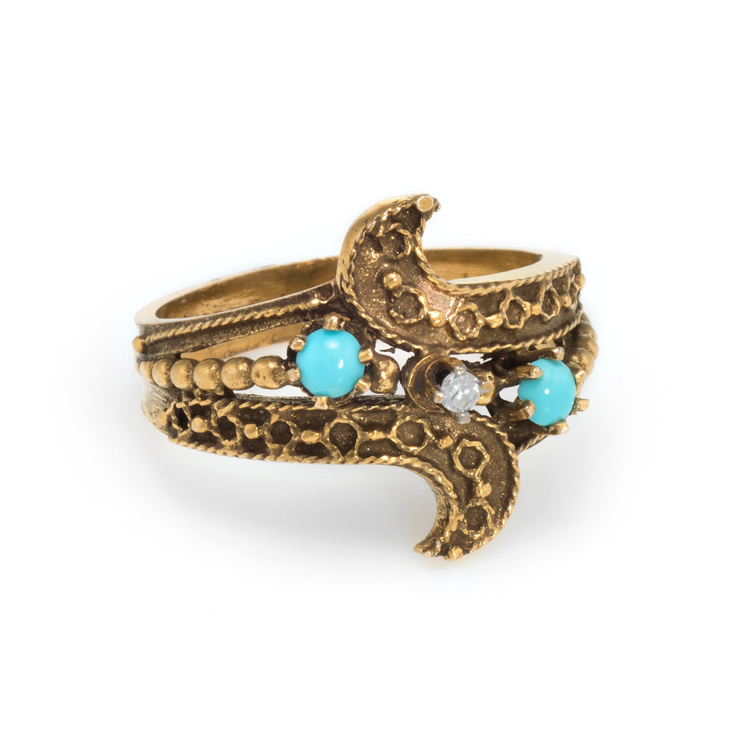Turquoise Diamond Etruscan Band Ring