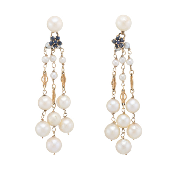 Cultured Pearl Sapphire Drop Dangle Earrings