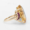 Retro Citrine Ruby Diamond Cocktail Ring Vintage 14k Yellow Gold Estate Jewelry