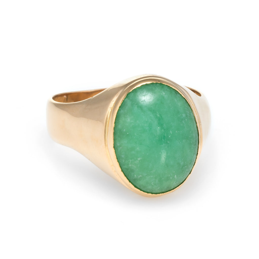 Mens Jade Ring Vintage 22k Yellow Gold Estate Fine Jewelry