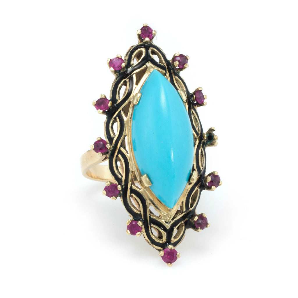 Turquoise Ruby Black Enamel Cocktail Ring Vintage 14k Yellow Gold