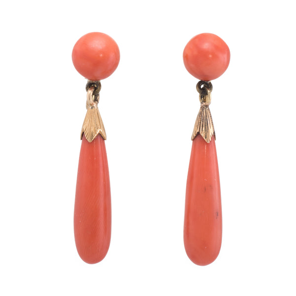 Vintage Art Deco Coral Earrings