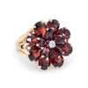 Garnet Diamond Flower Cocktail Ring Vintage 14k Yellow Gold Estate Jewelry Fine