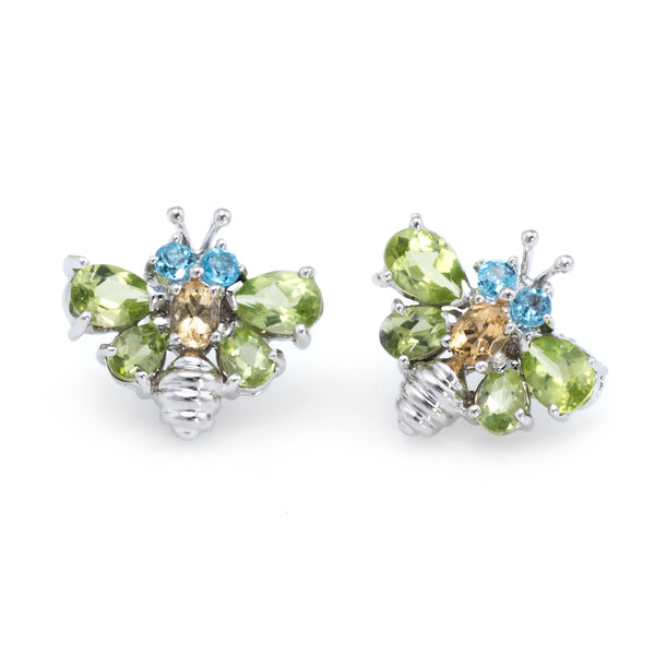 Bumble Bee Stud Earrings Estate 18k White Gold
