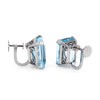 Antique Deco 18ct Aquamarine Earrings Vintage 18k White Gold