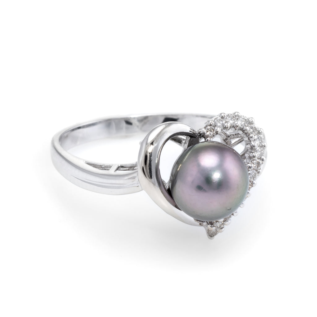 05230a076c4 Cultured Black Pearl Diamond Heart Ring Estate 18k White Gold Vintage  Jewelry