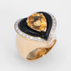 Citrine Onyx Diamond Cocktail Ring Vintage 18k Yellow Gold Estate Fine Jewelry