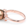 Brown Cultured Pearl Diamond Ring Estate 14k Rose Gold Vintage Jewelry Fine