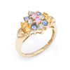 Rainbow Sapphire Cluster Gemstone Cocktail Ring Estate 14k Yellow Gold Vintage