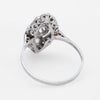 Antique Deco Platinum Diamond Navette Cocktail Ring Vintage Fine Jewelry