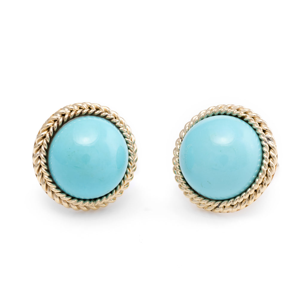 Egg Shell Blue Turquoise Round Clip Earrings Vintage 14k Yellow Gold Estate