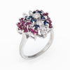 Gemstone Butterfly Ring Vintage Diamond Ruby Sapphire 14k White Gold Estate