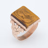 Antique Deco Mens Intaglio Tigers Eye Warrior Ring Vintage 10k Rose Gold Estate