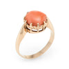 Natural Coral Ring Vintage 18k Yellow Gold Crown Mount Estate Fine Jewelry
