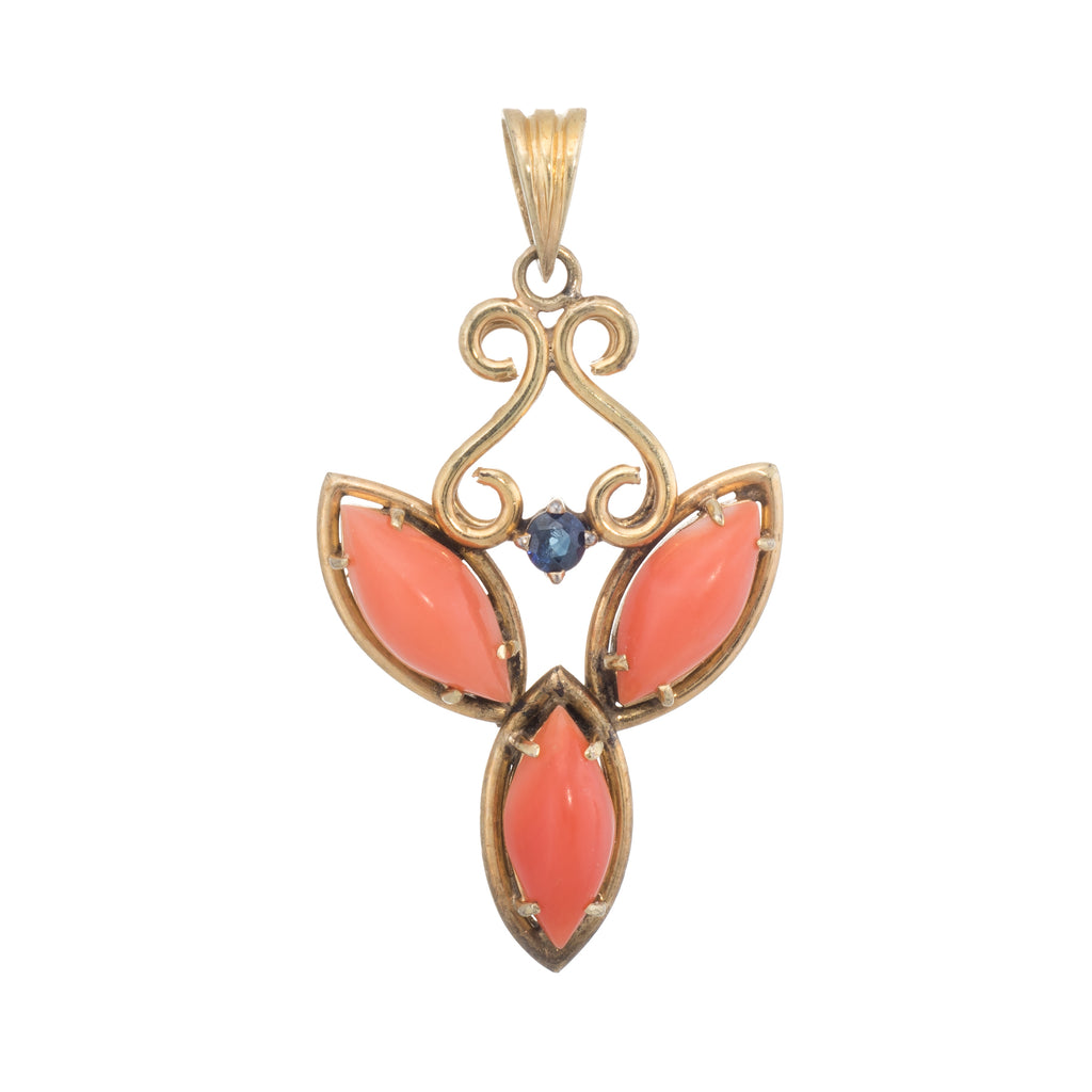 Coral Sapphire Pendant Vintage 14k Yellow Gold Estate Fine Jewelry Heirloom