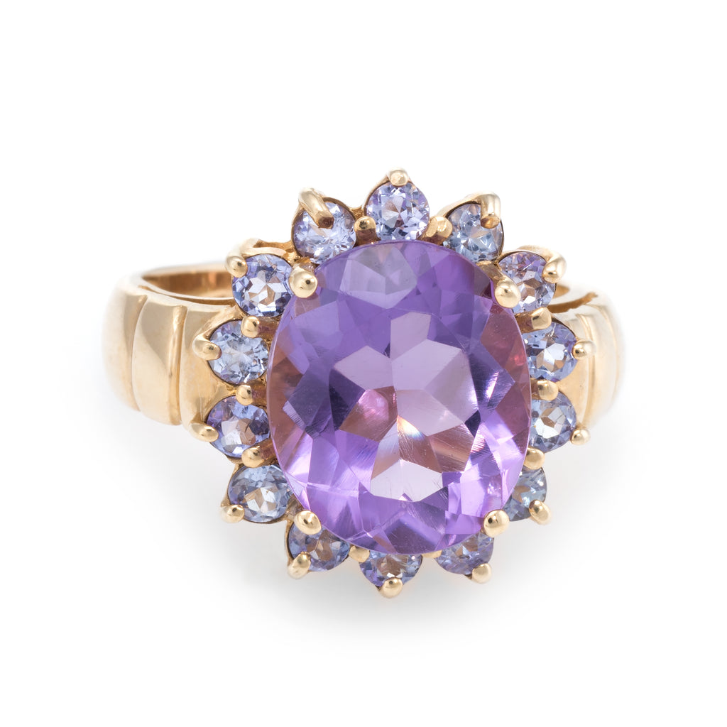 Amethyst Iolite Princess Cocktail Ring Estate 10k Yellow Gold Vintage Jewelry