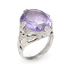Antique Deco Carved Amethyst Intaglio Ring Vintage 14k White Gold Filigree