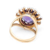 Amethyst Seed Pearl Cocktail Ring Vintage 14k Yellow Gold Estate Fine Jewelry