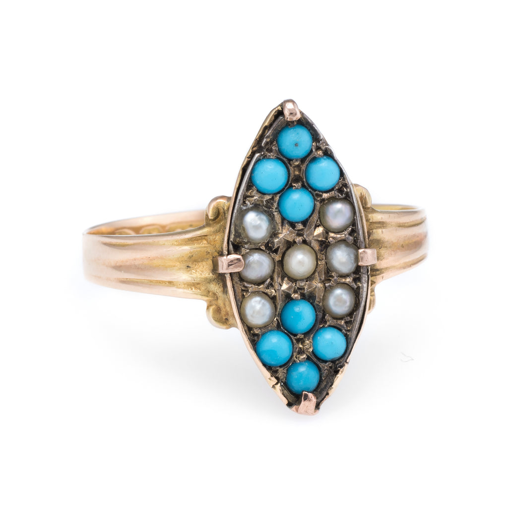 Antique Victorian c1896 Seed Pearl Turquoise Ring Vintage 15k Yellow Gold