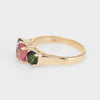 3 Stone Pink & Green Tourmaline Ring Vintage 14k Yellow Gold Estate Fine Jewelry