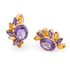 Citrine Amethyst Half Moon Earrings Vintage 14k Yellow Gold Estate Fine Jewelry