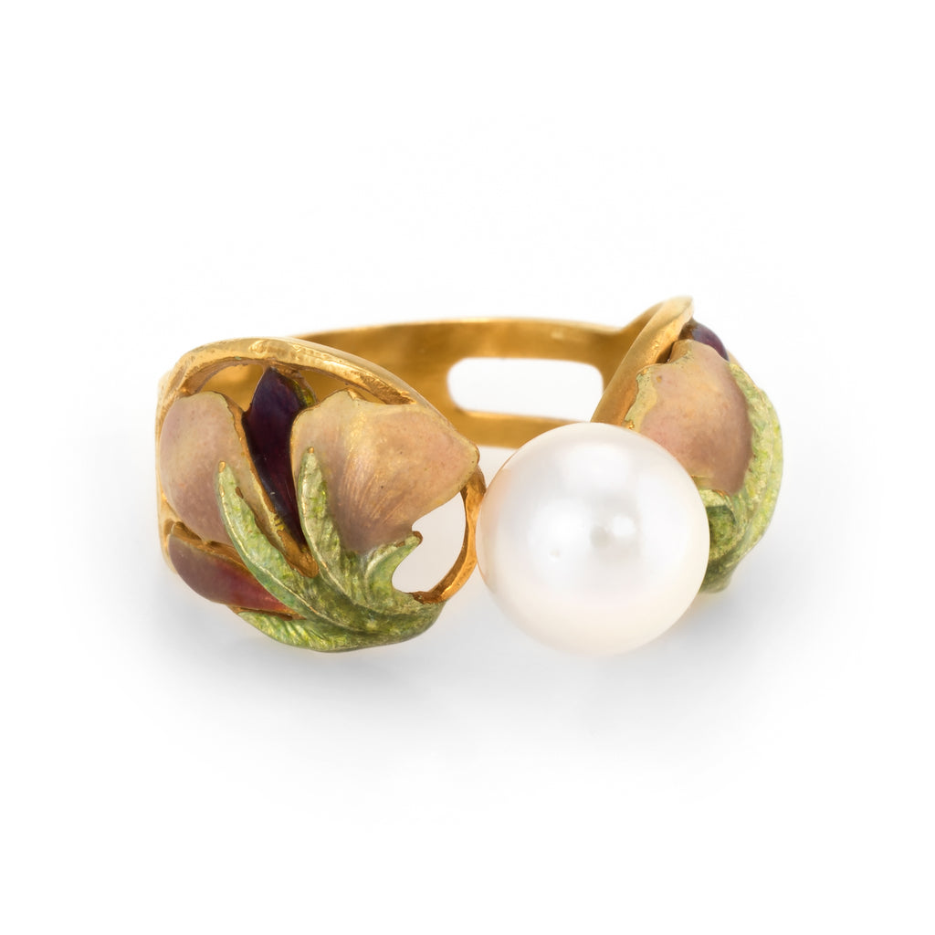 Masriera Cultured Pearl Enamel Ring Estate 18k Yellow Gold Fine Jewelry Spain